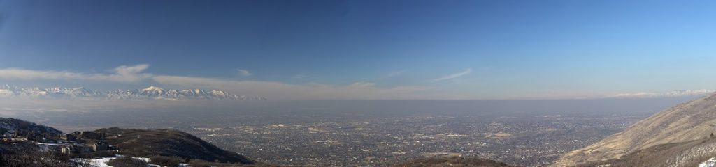 Widescreen view of Salt Lake Valley showing inversion layer